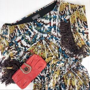 Harper Fringed Belted Mini with Fringed Sleeves